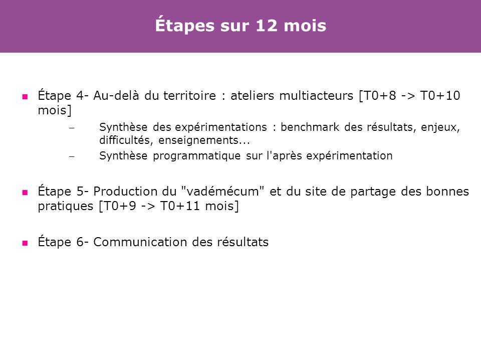 Étapes sur 12 mois Étape 4- Au-delà du territoire : ateliers multiacteurs [T0+8 -> T0+10 mois]